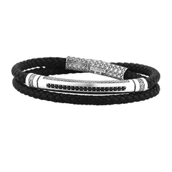 Mens Signature Leather Wrap Bracelet - Solid Silver - Black Leather