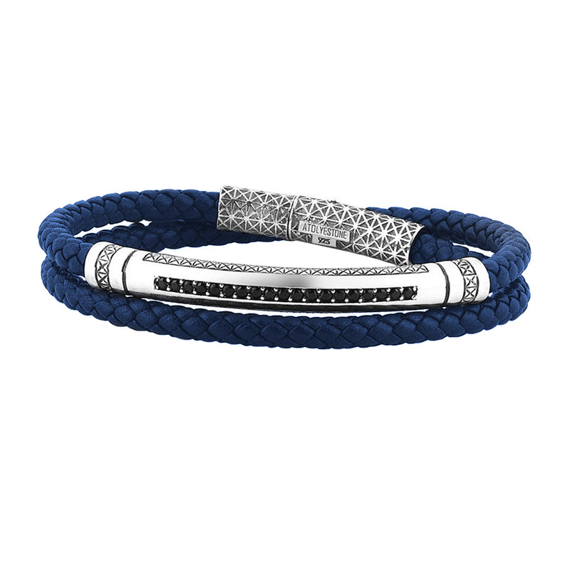 Mens Signature Leather Wrap Bracelet - Solid Silver - Blue Leather