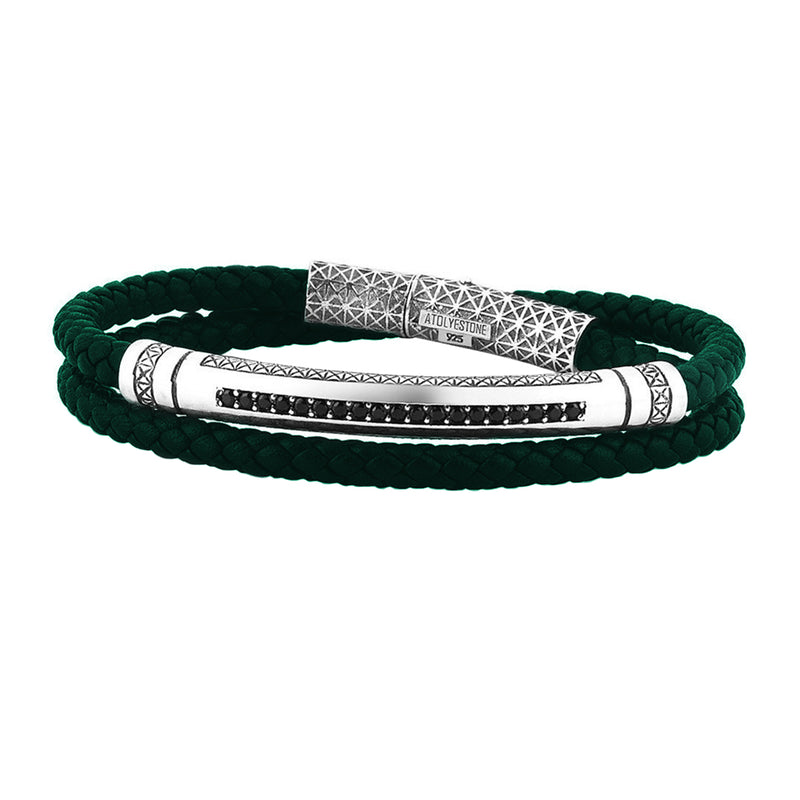 Mens Signature Leather Wrap Bracelet - Solid Silver - Dark Green Leather