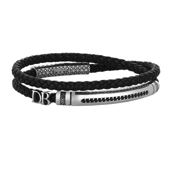 Signature Statements Wrap Bracelet - Solid Silver - Black Leather
