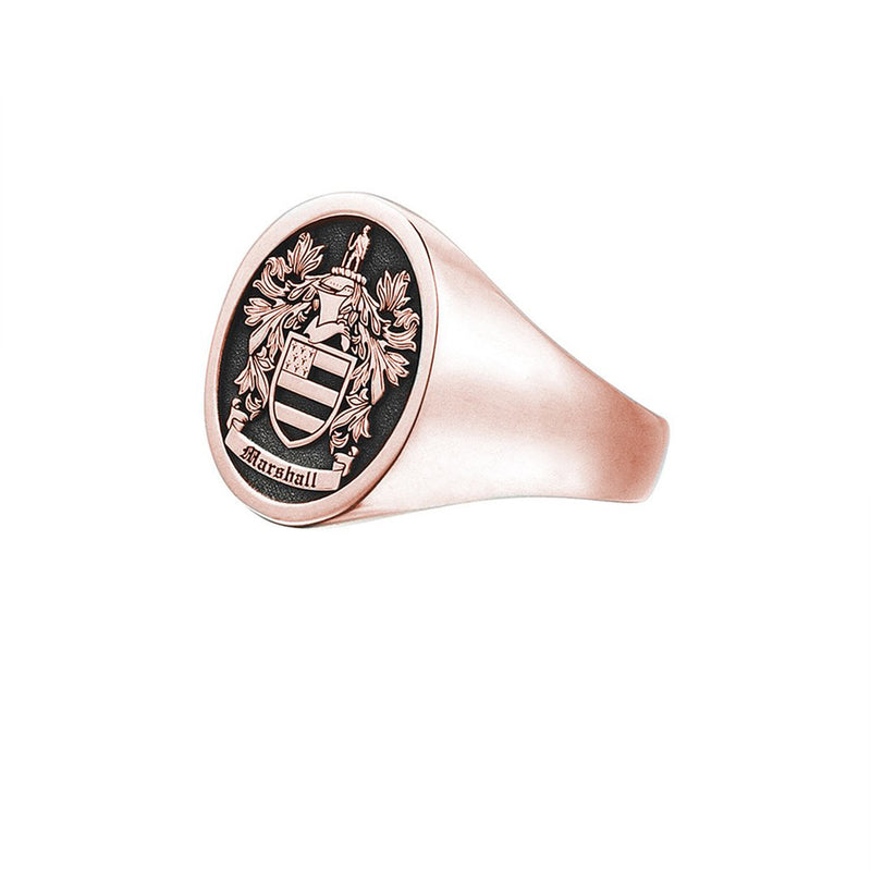 Signet Round Ring Base For Family Crest - Rose Gold