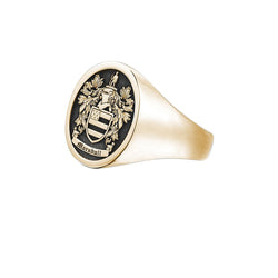 Signet Round Ring Base For Family Crest - Yellow Gold