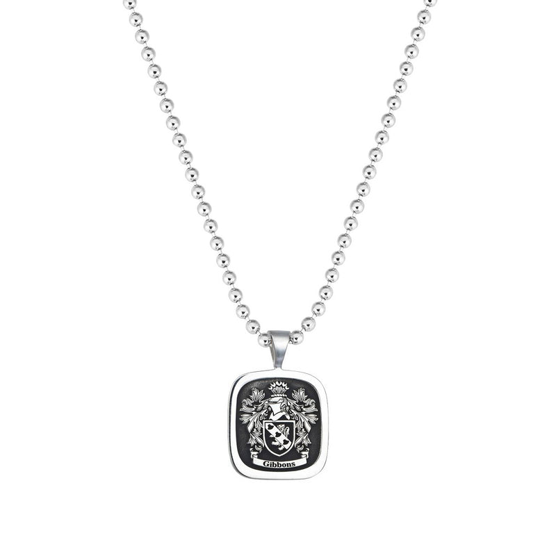 Signet Square Pendant Base for Family Crest - Solid Silver