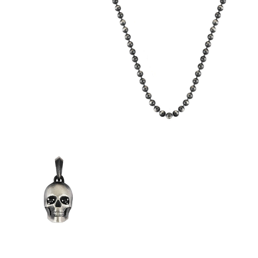 Skull Charm Necklace With Chain