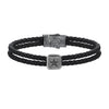 Mens Star Leather Bracelet - Solid Silver