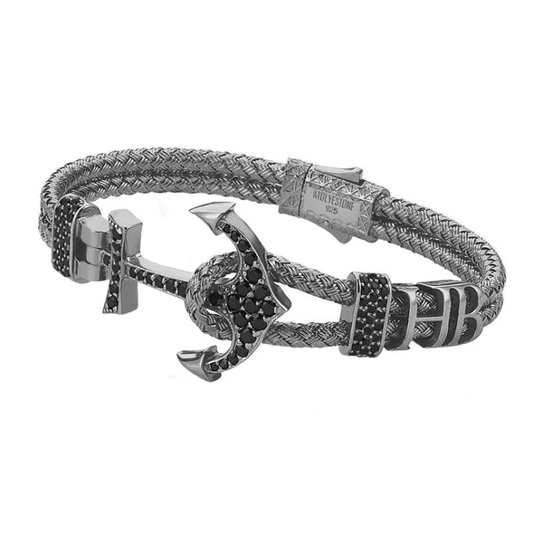 Mens Statements Anchor Bangle  - Gunmetal
