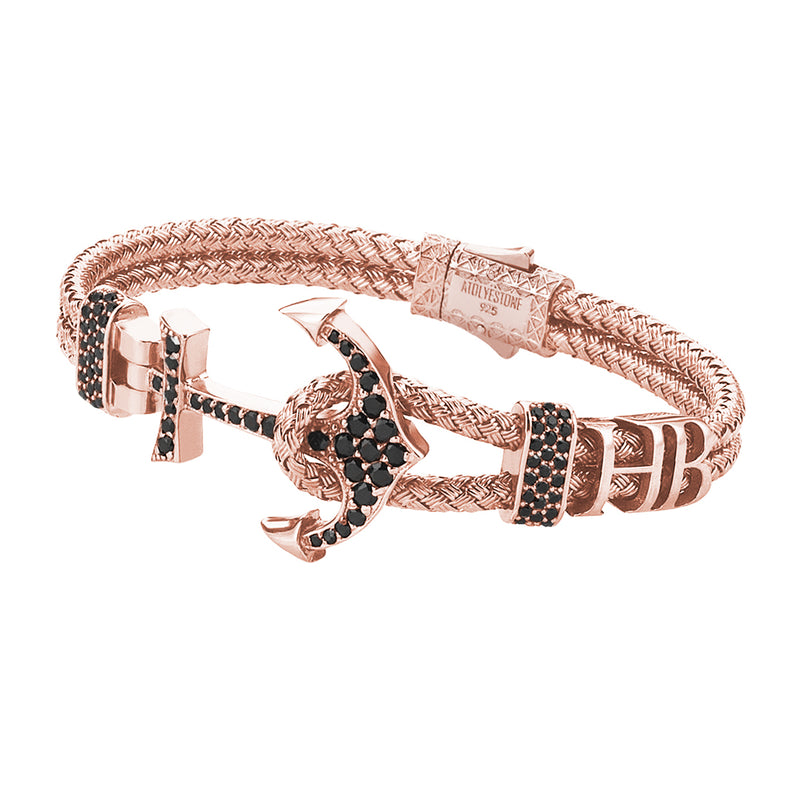 Mens Statements Anchor Bangle  - Rose Gold