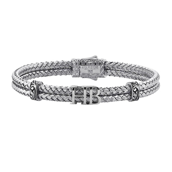 Mens Statements Bangle Bracelet - White Gold