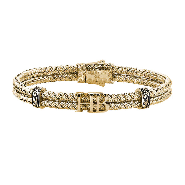Mens Statements Bangle Bracelet - Yellow Gold