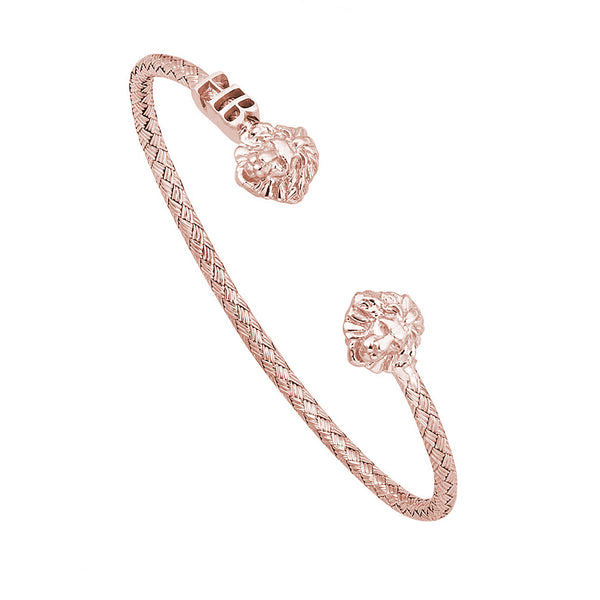 Mens Statements Braided Leo Cuff Bracelet - Rose Gold