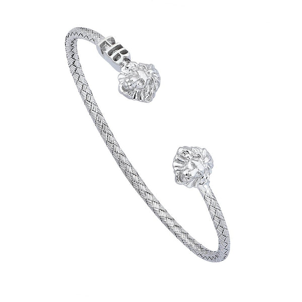 Mens Statements Braided Leo Cuff Bracelet - White Gold