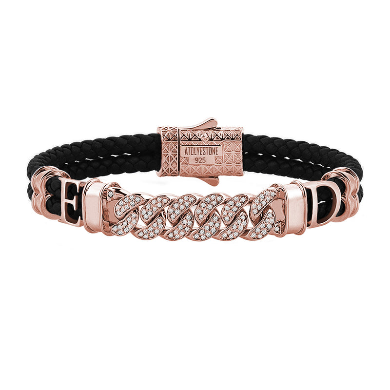 Statements Cuban Links Leather Bracelets - Rose Gold - Black Leather