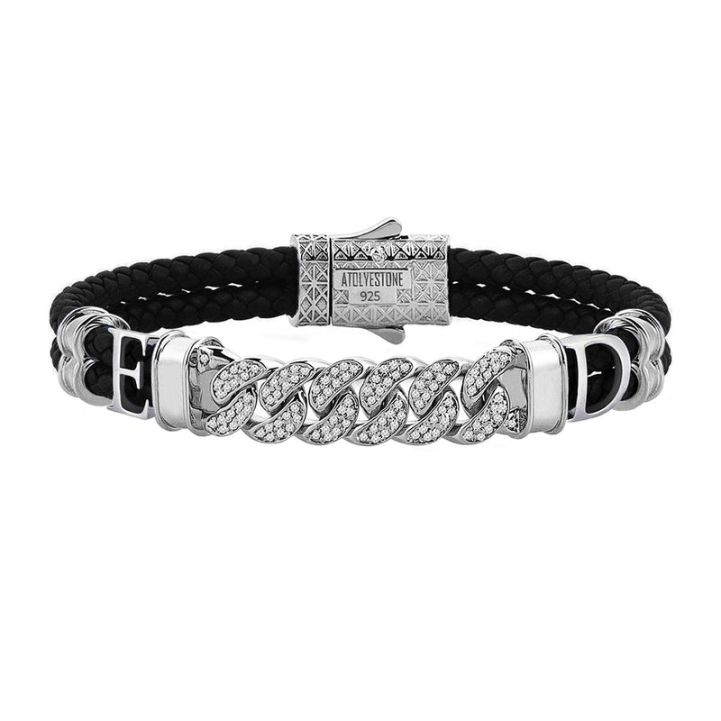 Statements Cuban Links Leather Bracelets - Silver - Black Leather