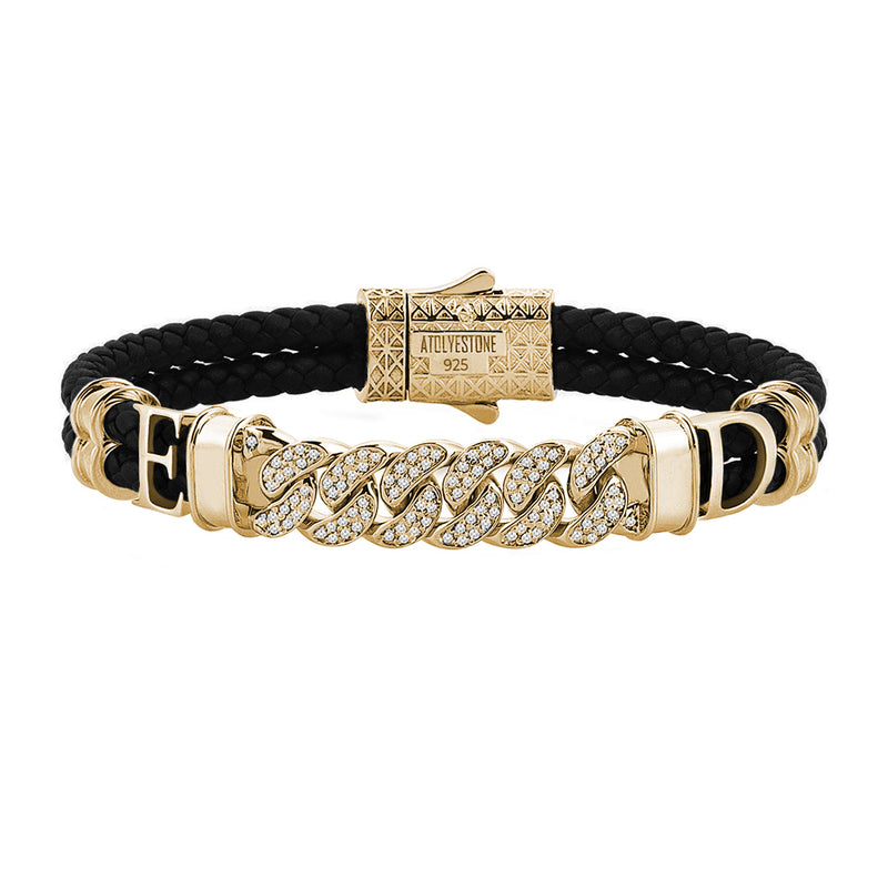 Statements Cuban Links Leather Bracelets - Yellow Gold - Black Leather