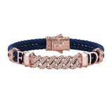 Statements Cuban Links Leather Bracelets - Rose Gold - Blue Leather