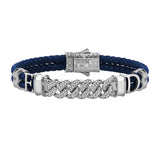 Statements Cuban Links Leather Bracelets - Silver - Blue Leather