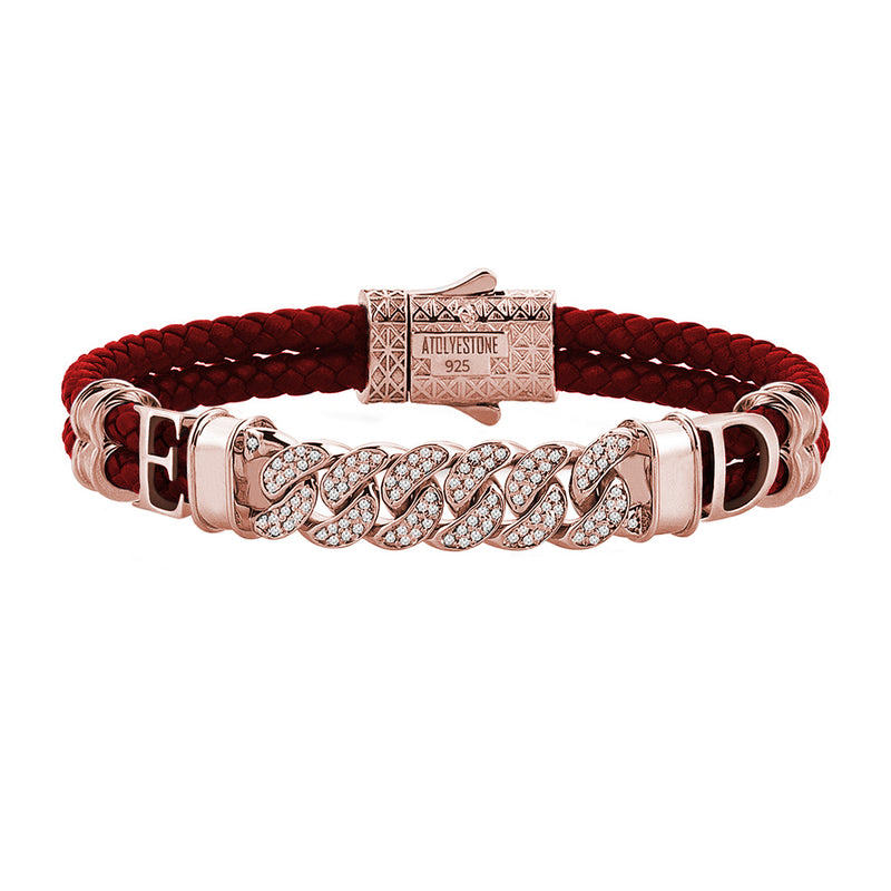 Statements Cuban Links Leather Bracelets - Rose Gold - Dark Red Leather