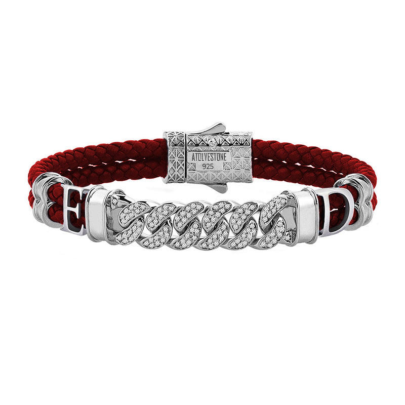 Statements Cuban Links Leather Bracelets - Silver - Dark Red Leather