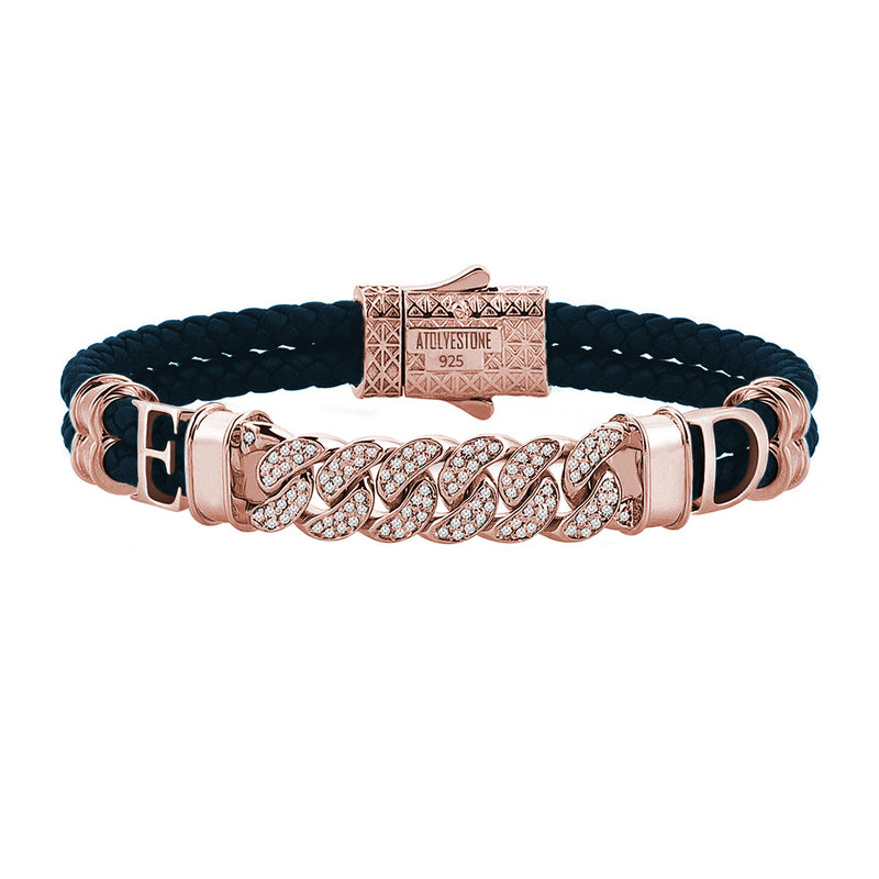 Statements Cuban Links Leather Bracelets - Rose Gold - Navy Leather