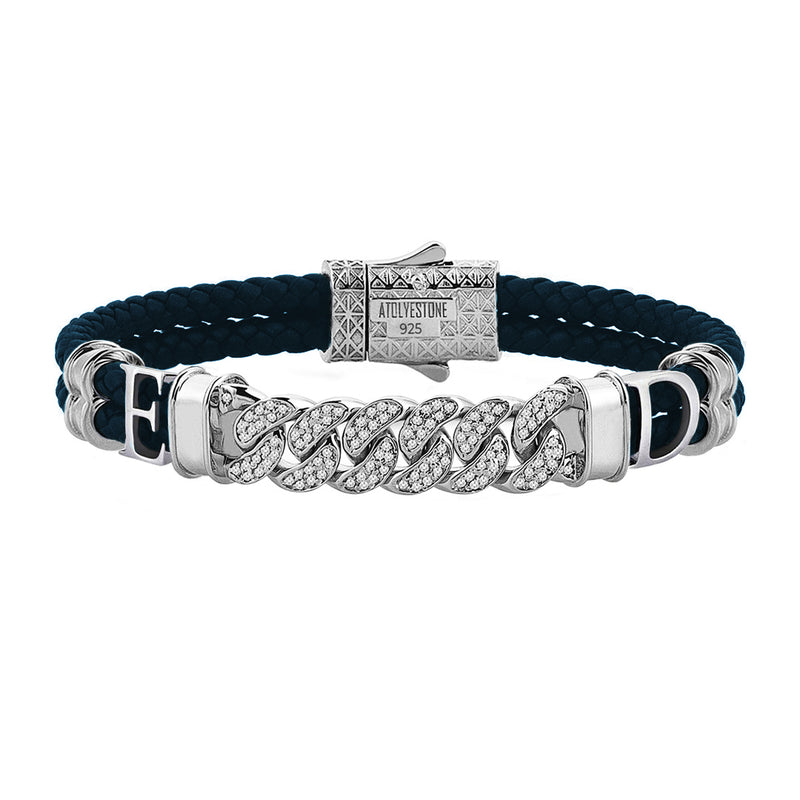 Statements Cuban Links Leather Bracelets - Silver - Navy Leather