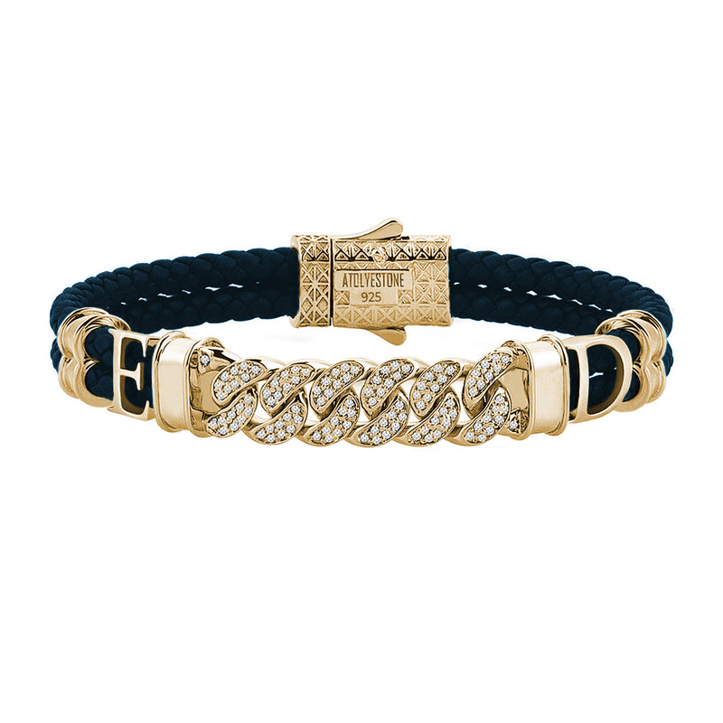 Statements Cuban Links Leather Bracelets - Yellow Gold - Navy Leather