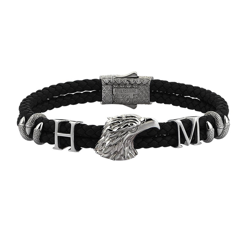 Statements Eagle Leather Bracelet - Gunmetal - Black Leather