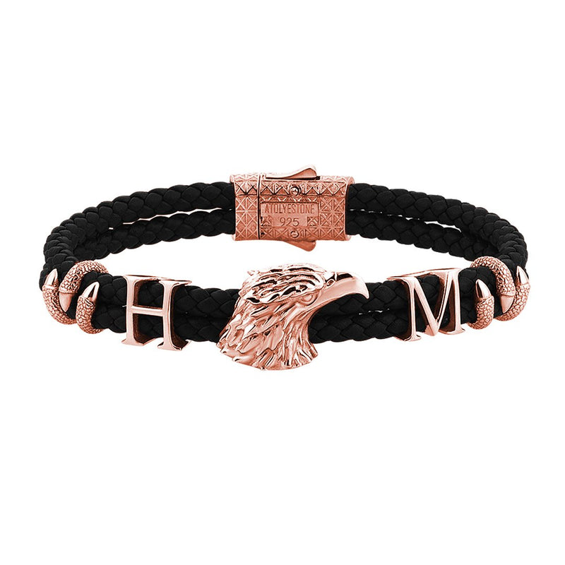 Statements Eagle Leather Bracelet - Rose Gold - Black Leather