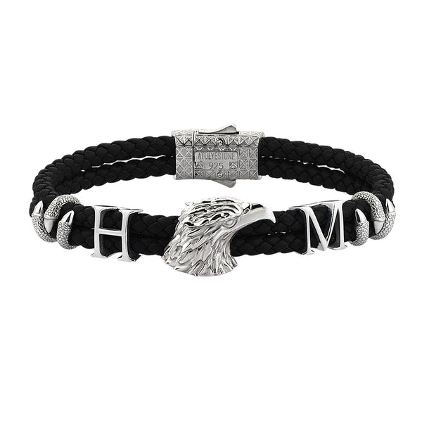 Statements Eagle Leather Bracelet - Black Leather - Silver