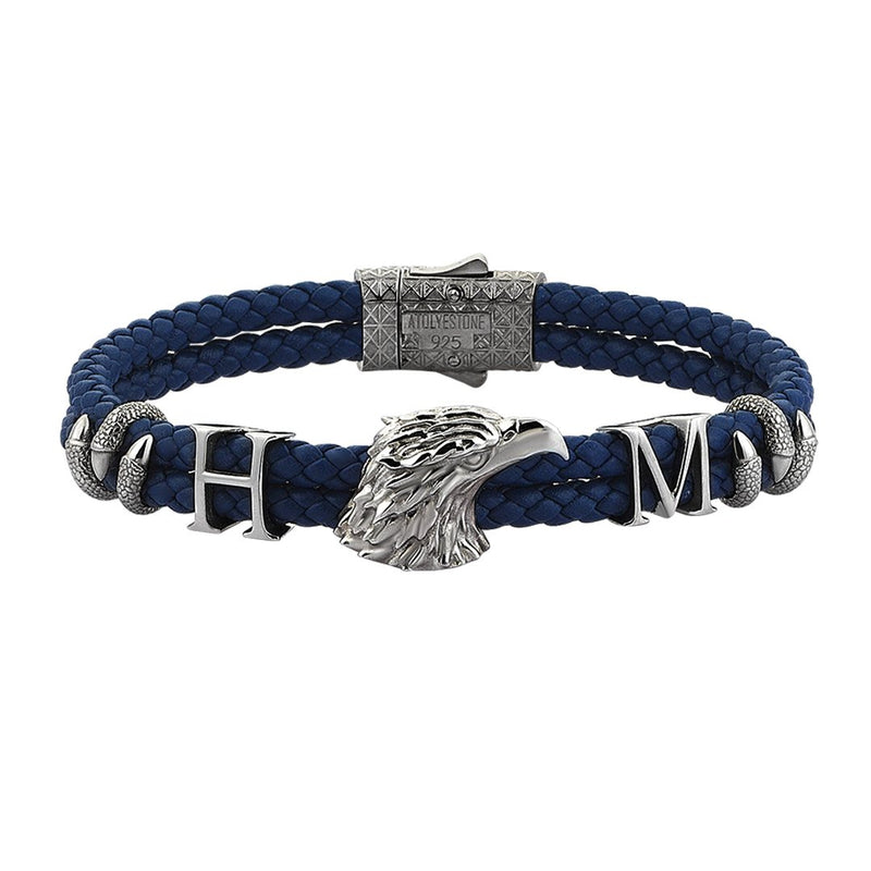 Statements Eagle Leather Bracelet - Gunmetal - Blue Leather