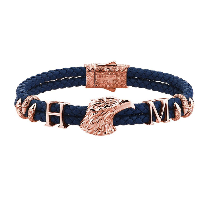 Statements Eagle Leather Bracelet - Rose Gold - Blue Leather