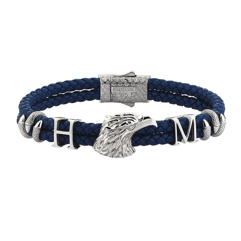 Statements Eagle Leather Bracelet - Silver - Blue Leather
