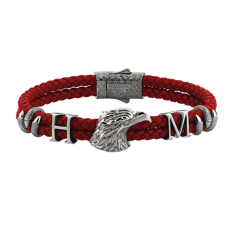 Statements Eagle Leather Bracelet - Gunmetal - Dark Red Leather