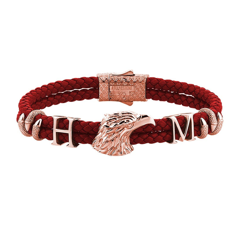 Statements Eagle Leather Bracelet - Rose Gold - Dark Red Leather