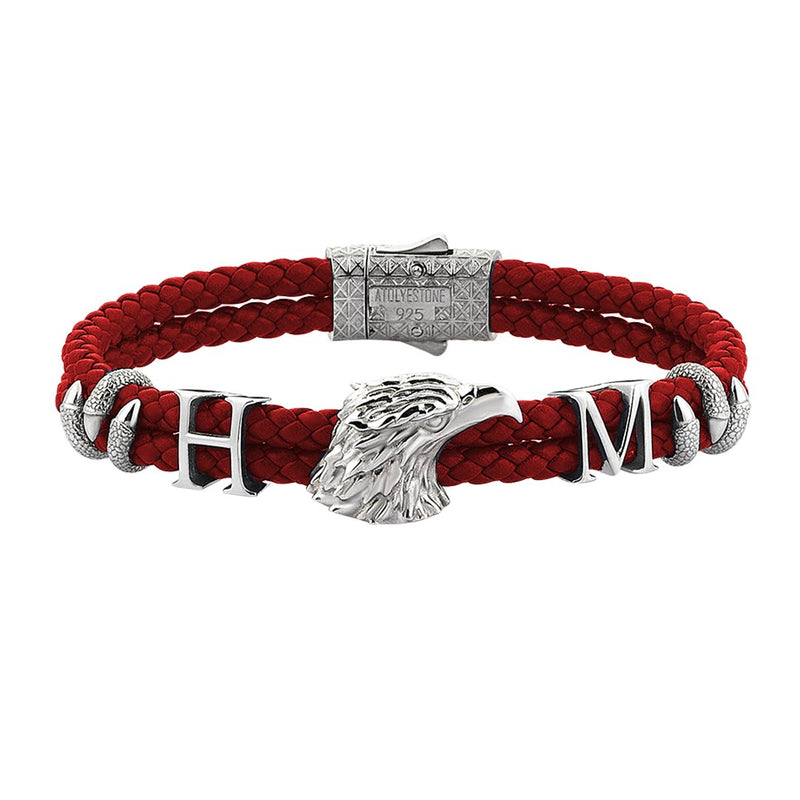 Statements Eagle Leather Bracelet - Silver - Dark Red Leather