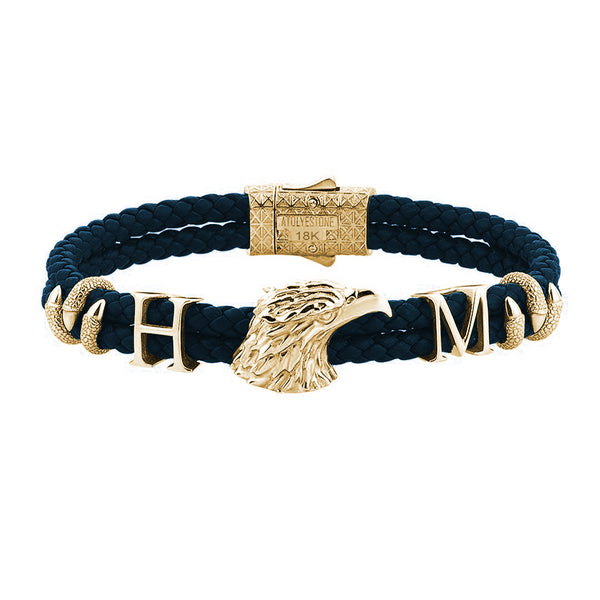 Statement Eagle Leather Bracelet in Gold