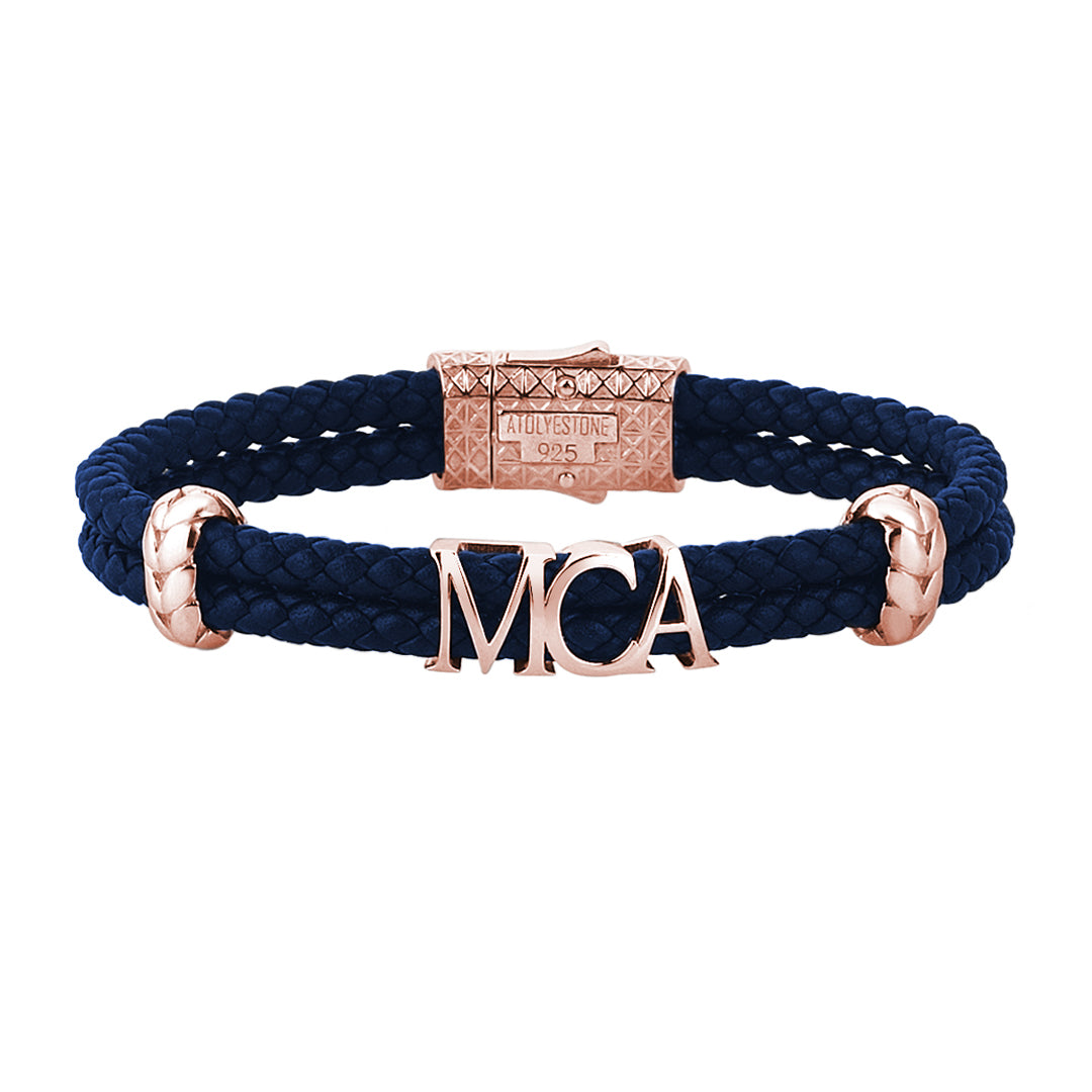 Atolyestone Statements - Blue Leather - Rose Gold