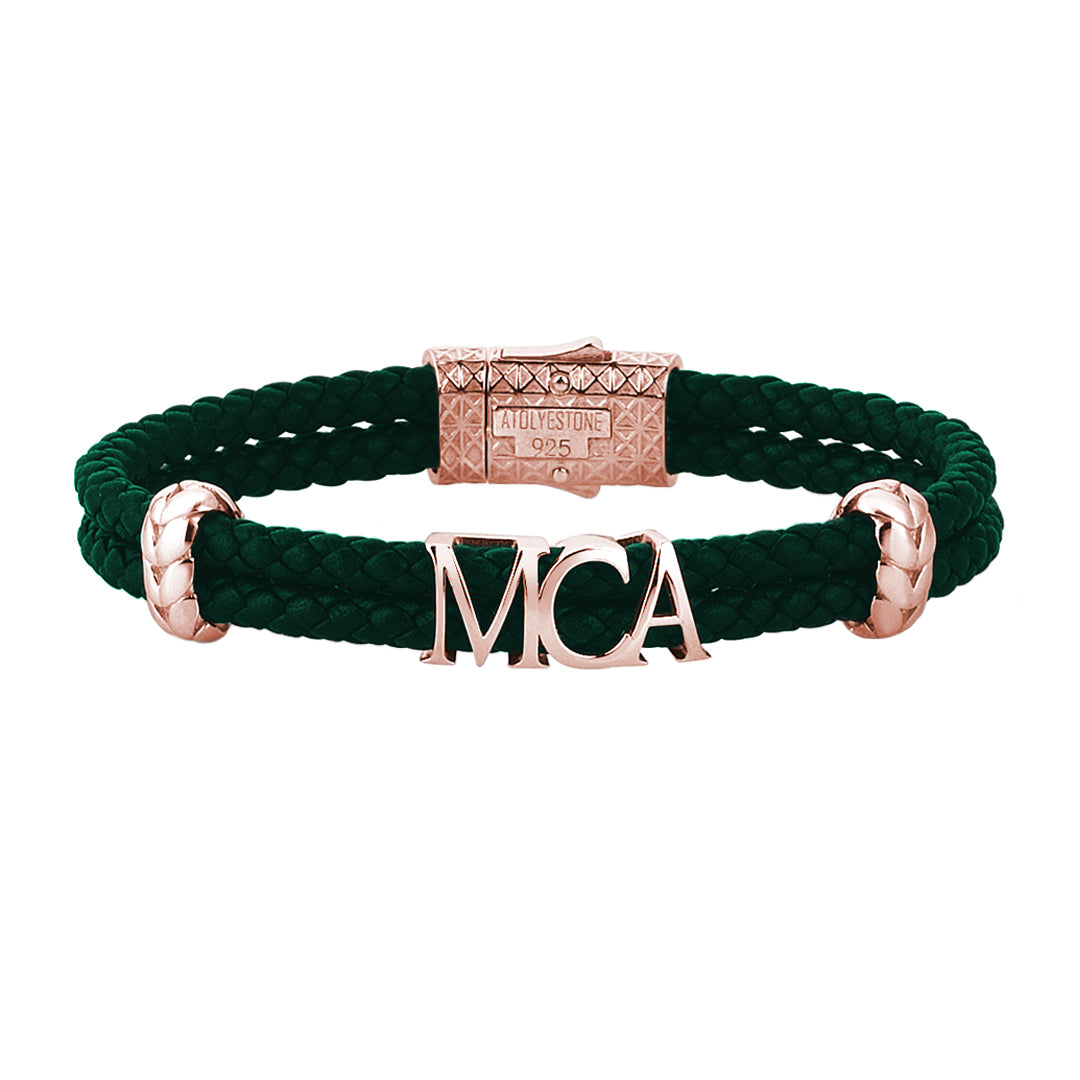 Atolyestone Statements - Dark Green Leather - Rose Gold