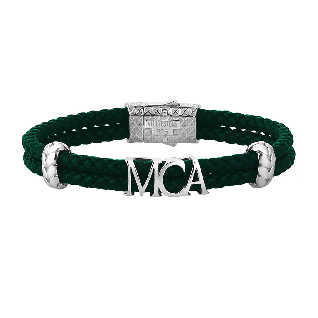 Atolyestone Statements - Dark Green Leather - Solid Silver