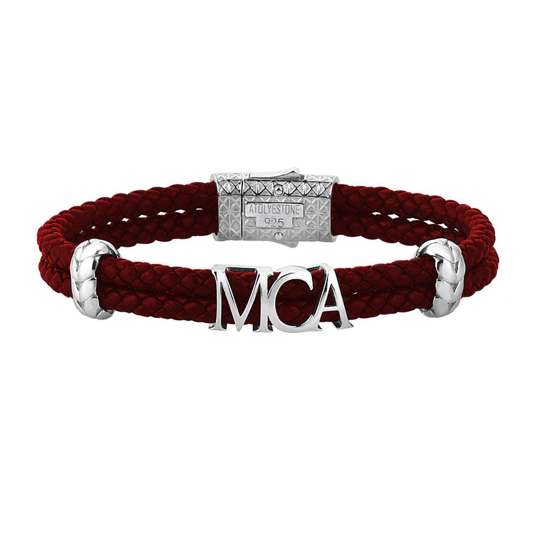 Atolyestone Statements - Dark Red Leather - Solid Silver