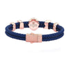 Statements Leo Leather Bracelet - Rose Gold - Blue Leather