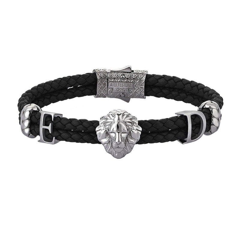 Women's Statements Leo Leather Bracelet - Gunmetal - Black Leather