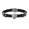 Statements Leo Leather Bracelet - Gunmetal - Black Leather