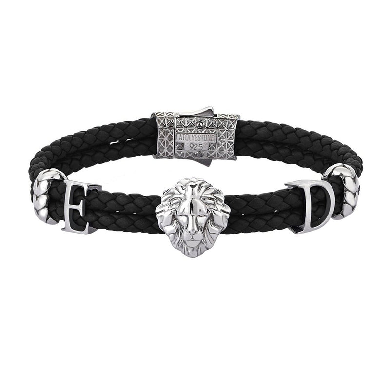 Women's Statements Leo Leather Bracelet - Black Leather - Solid Silver