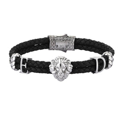Statements Leo Leather Bracelet - Black Leather - Solid Silver
