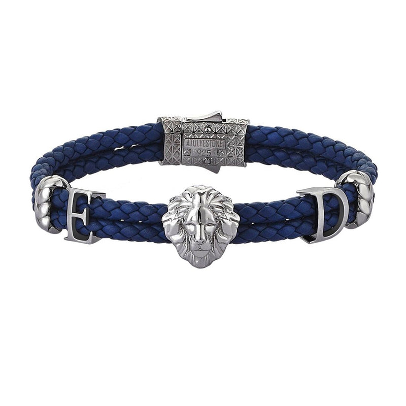 Women's Statements Leo Leather Bracelet - Gunmetal - Blue Leather