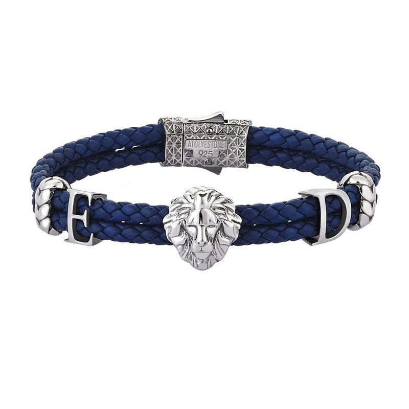 Women's Statements Leo Leather Bracelet - Blue Leather - Oxidized Silver