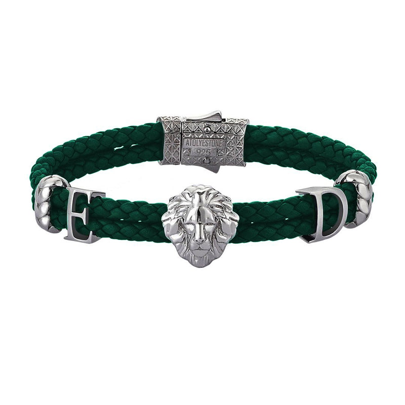 Women's Statements Leo Leather Bracelet - Gunmetal - Dark Green Leather