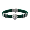 Statements Leo Leather Bracelet - Gunmetal - Dark Green Leather