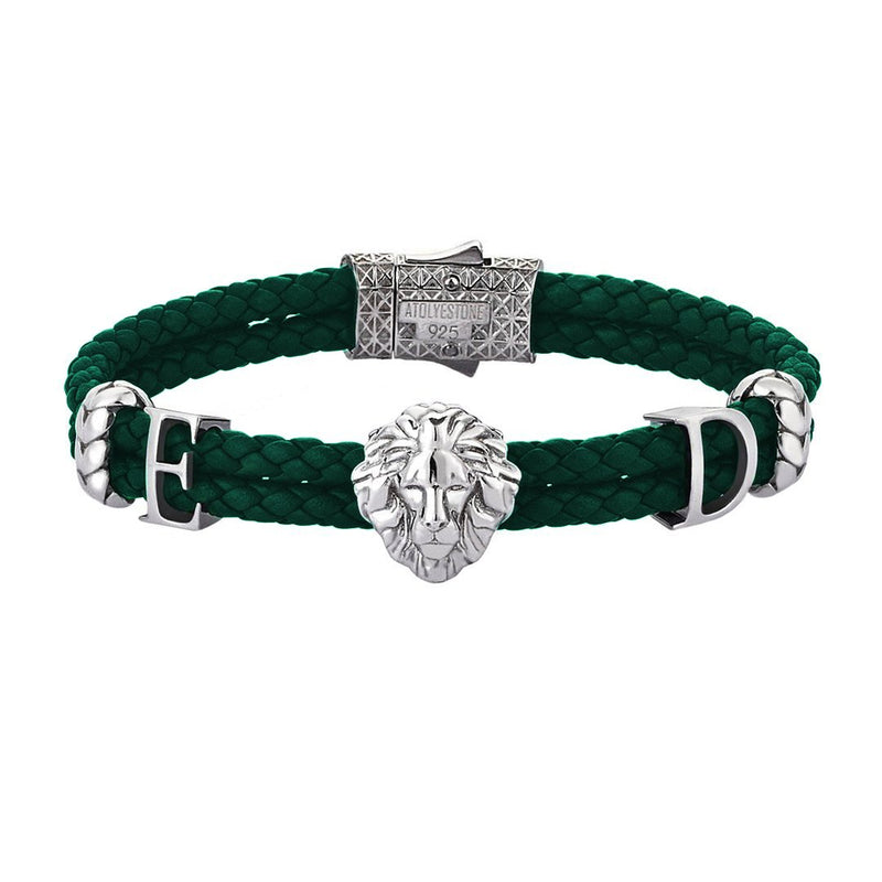 Women's Statements Leo Leather Bracelet - Oxidized Silver - Dark Green Leather