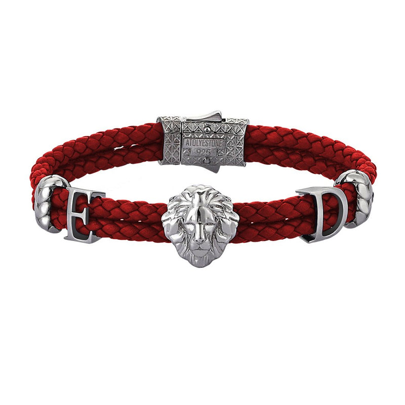 Women's Statements Leo Leather Bracelet - Gunmetal - Dark Red Leather